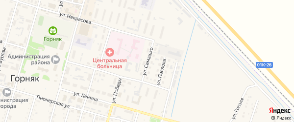 Улица Семашко на карте Горняка с номерами домов