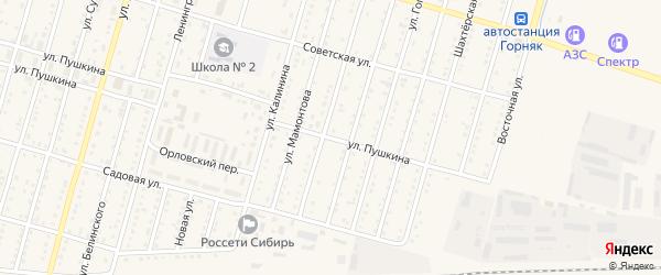Улица Пушкина на карте Горняка с номерами домов