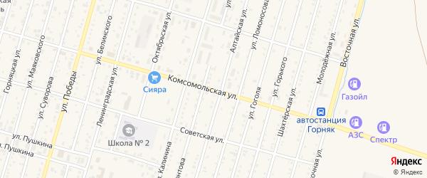 Комсомольская улица на карте Горняка с номерами домов