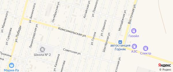 Улица Ломоносова на карте Горняка с номерами домов