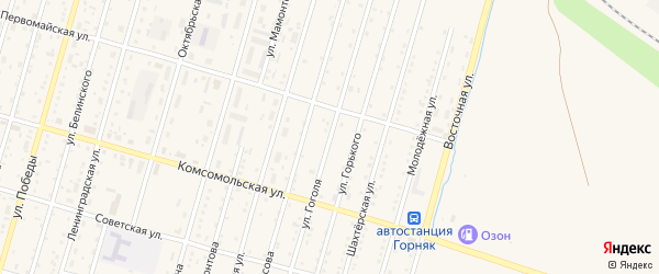 Улица Гоголя на карте Горняка с номерами домов