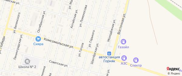 Улица Горького на карте Горняка с номерами домов