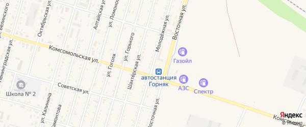 Молодежная улица на карте Горняка с номерами домов