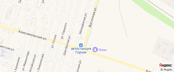 Восточная улица на карте Горняка с номерами домов