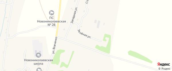 Зеленая улица на карте села Новониколаевки с номерами домов