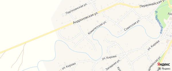 Комитетская улица на карте села Тюменцево с номерами домов