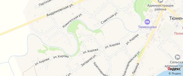 Пожарный переулок на карте села Тюменцево с номерами домов