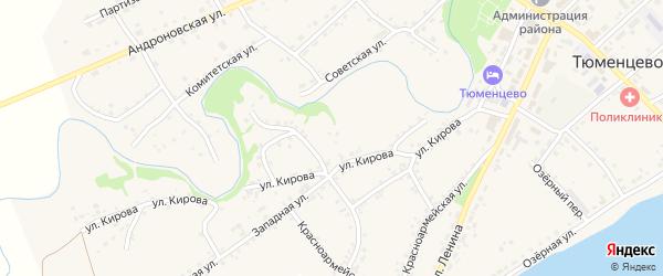 Улица Кирова на карте села Тюменцево с номерами домов