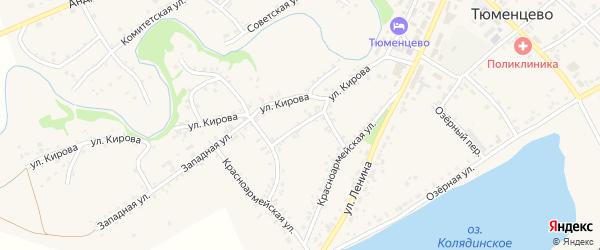 Красноармейский переулок на карте села Тюменцево с номерами домов