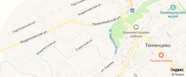 Советская улица на карте села Тюменцево с номерами домов