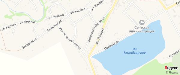 Красноармейская улица на карте села Тюменцево с номерами домов