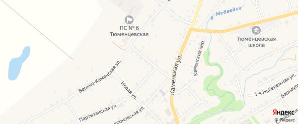 Партизанский переулок на карте села Тюменцево с номерами домов
