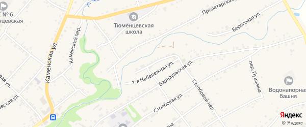 1-я Набережная улица на карте села Тюменцево с номерами домов