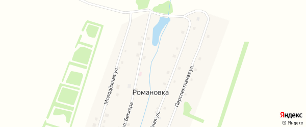 Перспективная улица на карте села Романовки с номерами домов