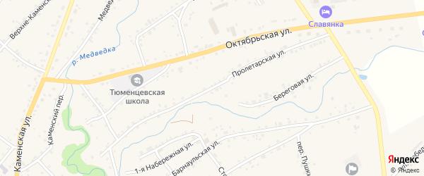 Пролетарская улица на карте села Тюменцево с номерами домов