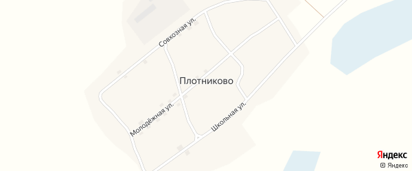 Совхозная улица на карте села Плотниково с номерами домов