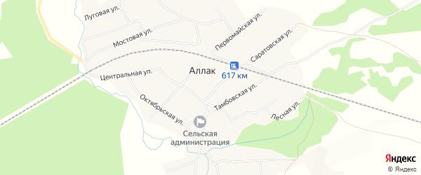 Карта села Аллака в Алтайском крае с улицами и номерами домов