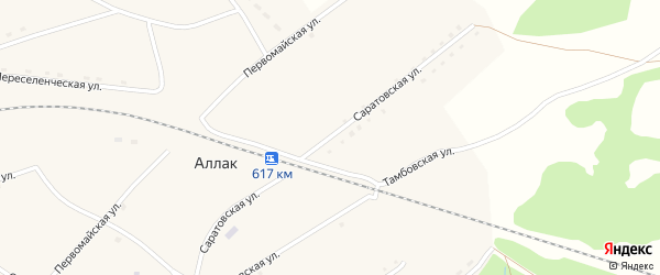 Саратовская улица на карте села Аллака с номерами домов