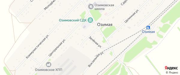 Зеленая улица на карте Озимой станции с номерами домов