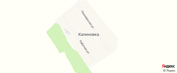 Рабочая улица на карте поселка Калиновки с номерами домов