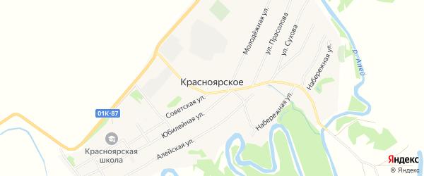 Карта Красноярского села в Алтайском крае с улицами и номерами домов