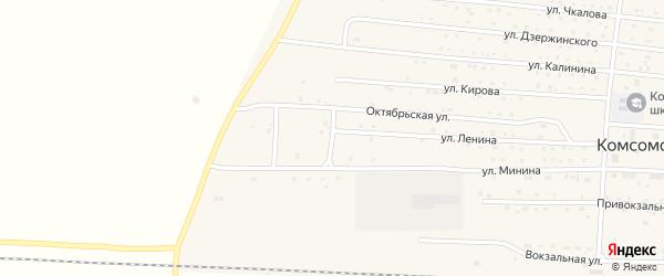Целинный переулок на карте Комсомольского поселка с номерами домов