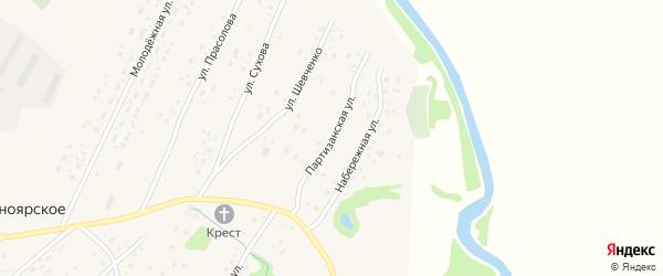 Партизанская улица на карте Красноярского села с номерами домов