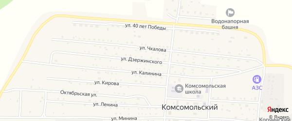 Улица Дзержинского на карте Комсомольского поселка с номерами домов