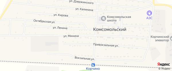 Улица Минина на карте Комсомольского поселка с номерами домов