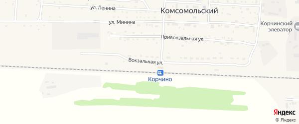 Вокзальная улица на карте Комсомольского поселка с номерами домов