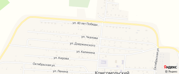 Улица Чкалова на карте Комсомольского поселка с номерами домов