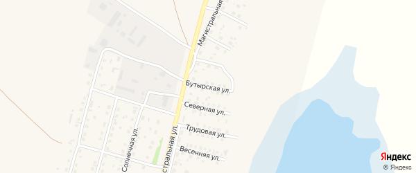 Бутырская улица на карте села Мамонтово с номерами домов