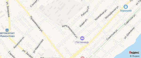 Комсомольская улица на карте села Мамонтово с номерами домов