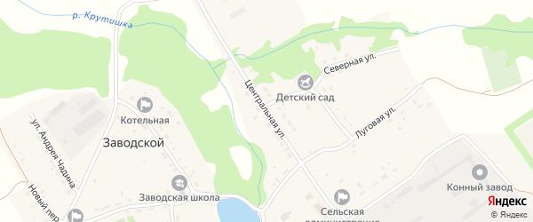 Центральная улица на карте Заводского поселка с номерами домов