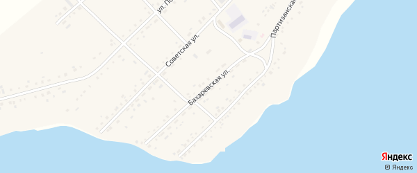 Бахаревская улица на карте села Малых Бутырки с номерами домов