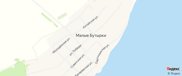 Карта села Малых Бутырки в Алтайском крае с улицами и номерами домов