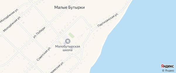Партизанская улица на карте села Малых Бутырки с номерами домов