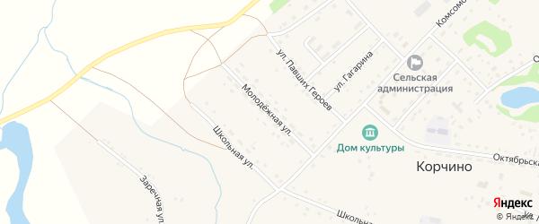 Молодежная улица на карте села Корчино с номерами домов