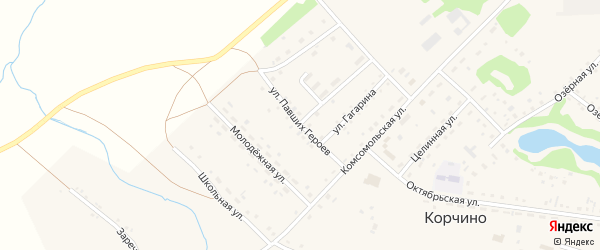 Улица Павших героев на карте села Корчино с номерами домов