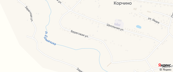Береговая улица на карте села Корчино с номерами домов