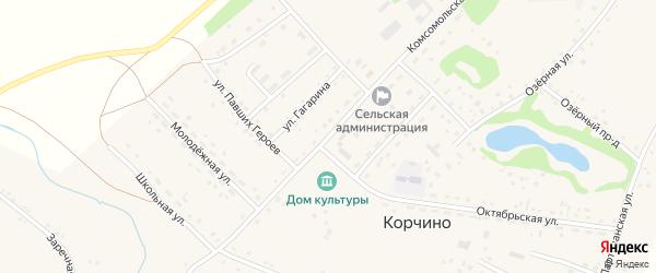 Комсомольская улица на карте села Корчино с номерами домов