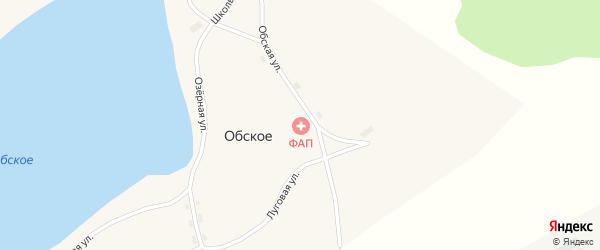 Школьный переулок на карте Обского села с номерами домов