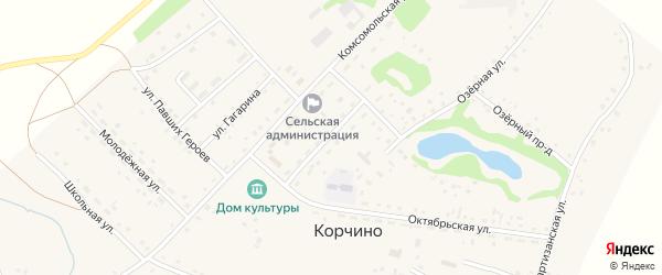 Целинная улица на карте села Корчино с номерами домов