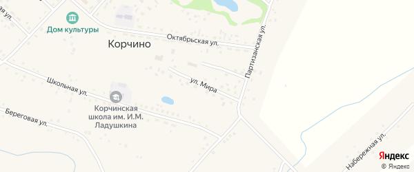 Улица Мира на карте села Корчино с номерами домов