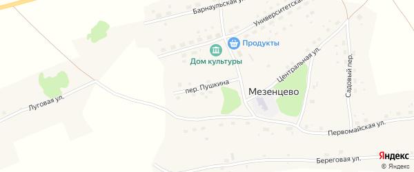 Переулок Пушкина на карте села Мезенцево с номерами домов