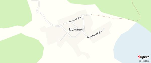 Береговая улица на карте Духовой деревни с номерами домов