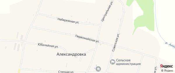 Первомайская улица на карте села Александровки с номерами домов