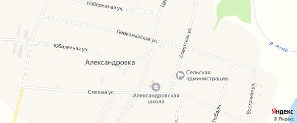 Центральная улица на карте села Александровки с номерами домов
