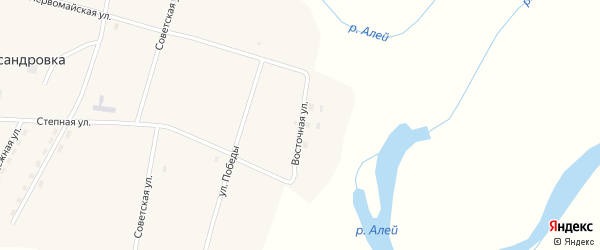 Восточная улица на карте села Александровки с номерами домов