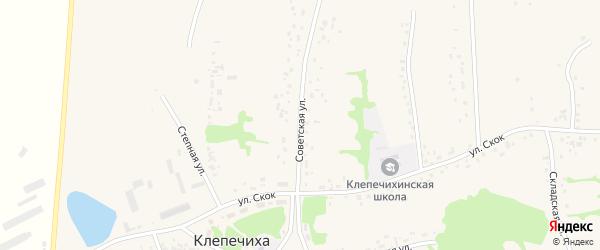 Советская улица на карте села Клепечихи с номерами домов